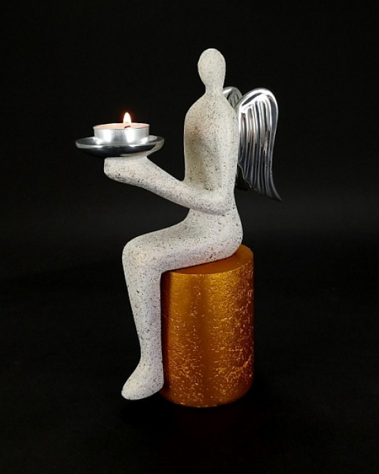 Angel Collection- Sitting Angel With Stone Stool